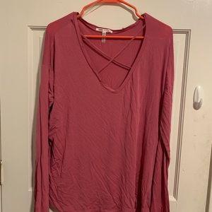 VS pink criss cross front long sleeve top